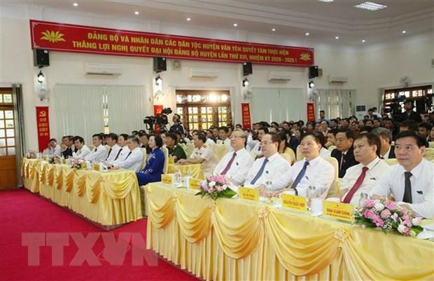 Dong chi Tran Quoc Vuong du Dai hoi diem huyen Van Yen tai Yen Bai hinh anh 1