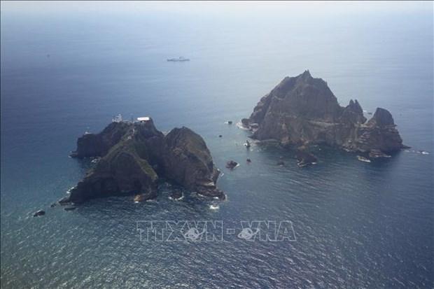 Quần đảo tranh chấp Dokdo ở vùng biển phía Đông Hàn Quốc, mà Nhật Bản cũng tuyên bố chủ quyền và gọi là Takeshima. Ảnh: AFP/TTXVN