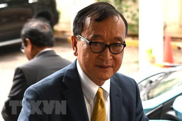 Ông Sam Rainsy tại Jakarta, Indonesia ngày 14-11-2019. Ảnh: AFP/TTXVN
