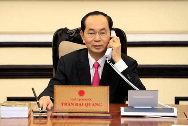 Chu tich nuoc Tran Dai Quang dien dam voi Tong thong Hoa Ky hinh anh 1