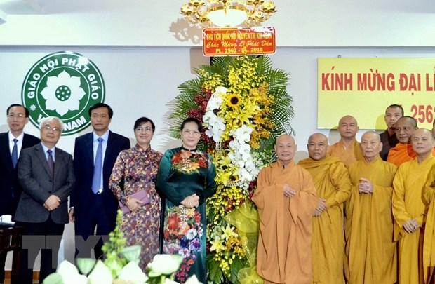 Chu tich Quoc hoi Nguyen Thi Kim Ngan chuc mung le Phat dan tai TP.HCM hinh anh 1