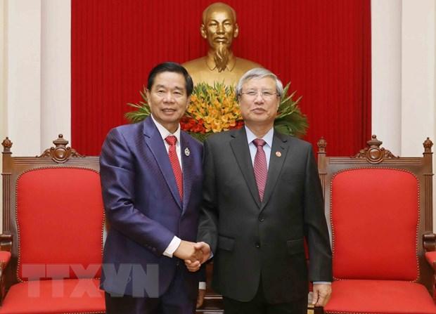 Thuong truc Ban Bi thu tiep doan dai bieu cap cao thu do Vientiane hinh anh 1