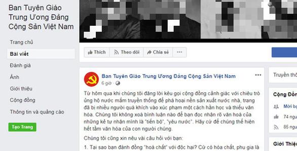 Ban Tuyen giao Trung uong bi mao danh tren mang xa hoi Facebook hinh anh 1