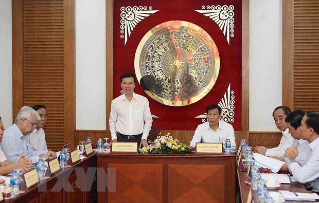 Tieu ban Van kien Dai hoi Dang lam viec voi Ban can su Bo VH-TT-DL hinh anh 1