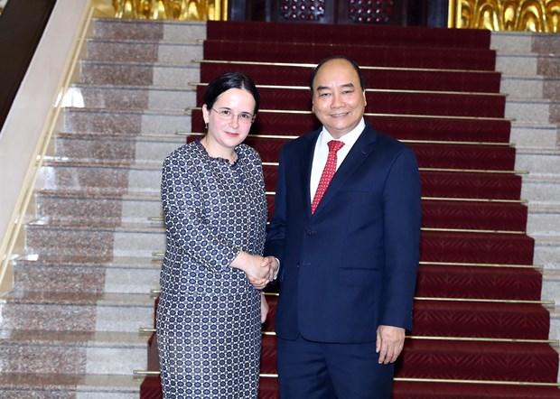 Thu tuong Nguyen Xuan Phuc tiep Quoc vu khanh Bo Ngoai giao Romania hinh anh 1