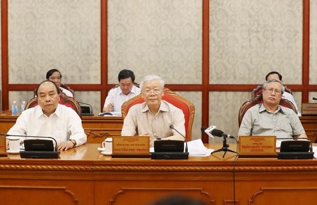 Tổng Bí thư, Chủ tịch nước Nguyễn Phú Trọng chủ trì họp Bộ Chính trị (Ảnh: Trí Dũng/TTXVN)