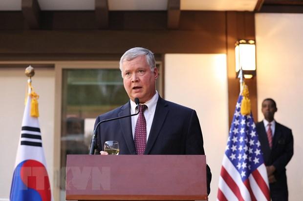 Ảnh tư liệu: Đặc phái viên Mỹ về Triều Tiên Stephen Biegun phát biểu trong một sự kiện ở Washington ngày 2-10-2019. Nguồn: Yonhap/TTXVN