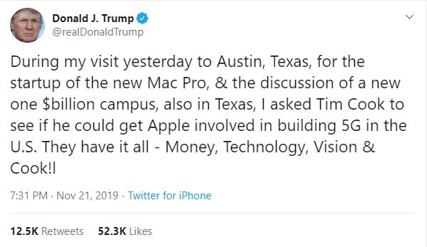 Tong thong Trump de nghi Apple tham gia xay dung mang 5G o My hinh anh 1