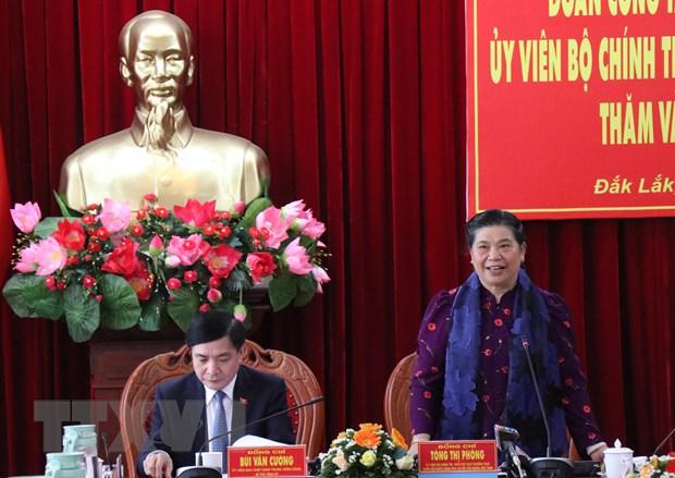 Pho Chu tich Thuong truc Quoc hoi lam viec voi Tinh uy Dak Lak hinh anh 1