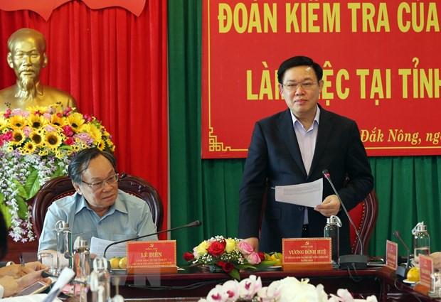 Doan cong tac Bo Chinh tri lam viec voi Ban Thuong vu Tinh uy Dak Nong hinh anh 1