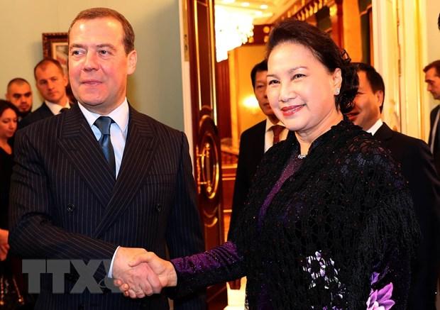 Chu tich Quoc hoi Nguyen Thi Kim Ngan hoi kien Thu tuong Nga Medvedev hinh anh 1