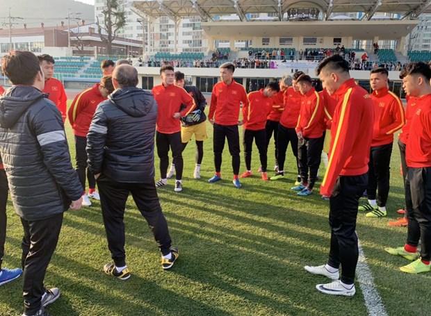 HLV Park Hang-seo va U23 Viet Nam co buoi tap dau tien o Han Quoc hinh anh 1