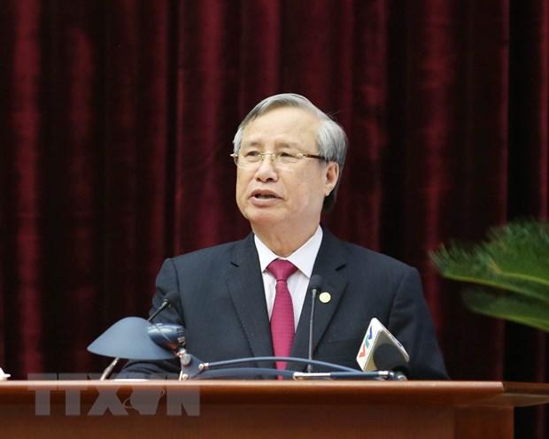 Ông Trần Quốc Vượng, Uỷ viên Bộ Chính trị, Thường trực Ban Bí thư phát biểu chỉ đạo hội nghị. Ảnh: Phương Hoa/TTXVN