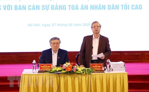 Thuong truc Ban Bi thu lam viec voi Ban can su dang Toa an Nhan dan hinh anh 1