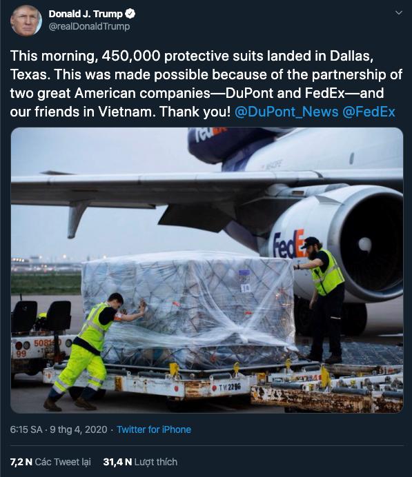 Tong thong My Trump cam on Viet Nam chuyen 450.000 bo quan ao bao ho hinh anh 2
