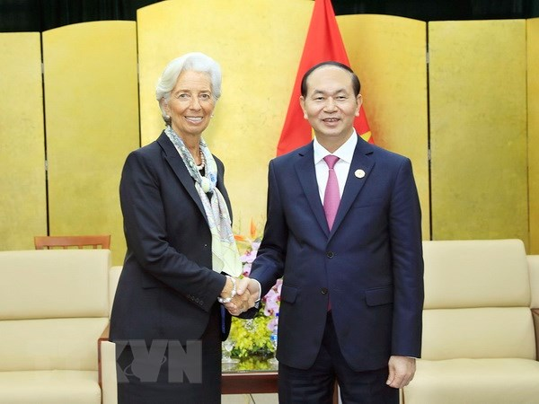 Chu tich nuoc tiep Tong Giam doc IMF Christine Lagarde hinh anh 1