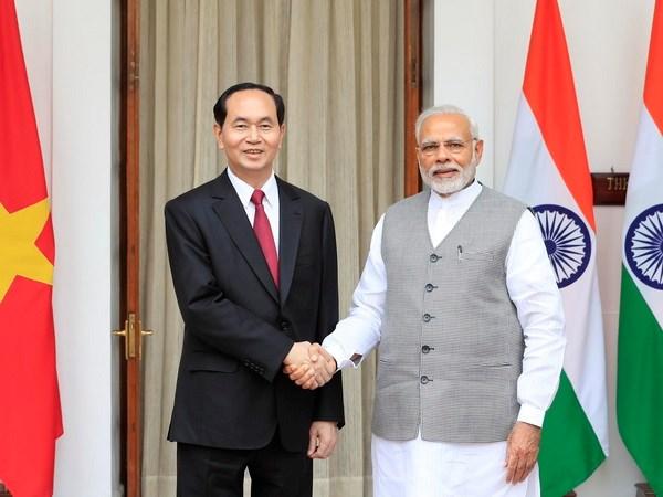 Chu tich nuoc Tran Dai Quang hoi dam voi Thu tuong An Do Narendra Modi hinh anh 1