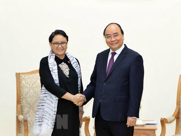 Thu tuong Nguyen Xuan Phuc tiep Bo truong Ngoai giao Indonesia hinh anh 1