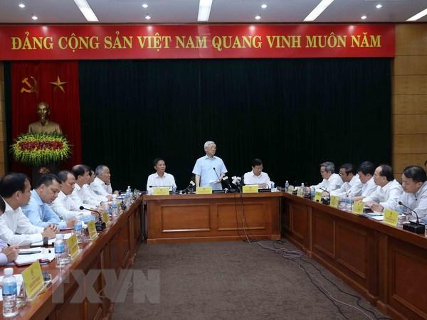Tong Bi thu lam viec voi Ban Can su Dang Bo Cong Thuong hinh anh 1