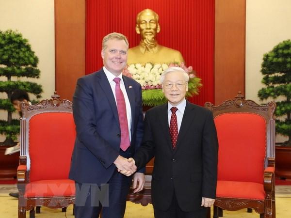 Tong Bi thu Nguyen Phu Trong tiep Chu tich Ha vien Australia hinh anh 1