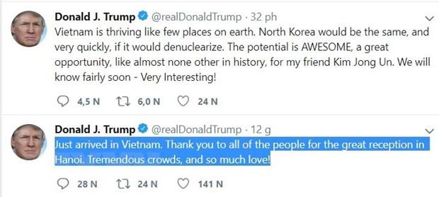 Tong thong My Donald Trump cam on Viet Nam vi su don tiep nong hau hinh anh 1