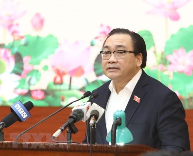 Ủy viên Bộ Chính trị, Bí thư Thành ủy Hà Nội Hoàng Trung Hải. Ảnh: Văn Điệp/TTXVN