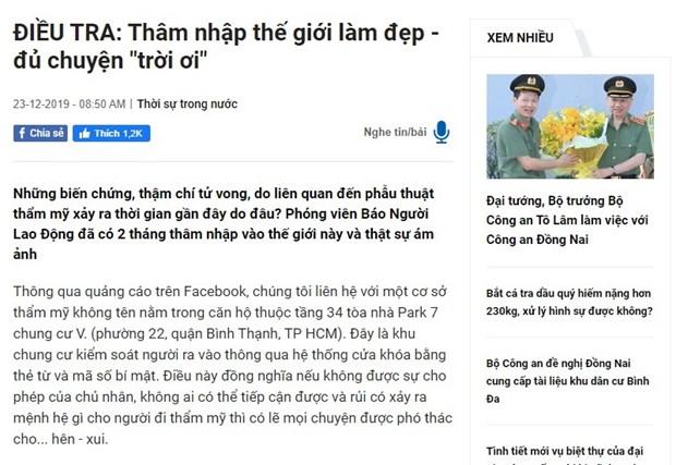 Bo Y te yeu cau xac minh thong tin bai bao ve tham my vien TP.HCM hinh anh 1