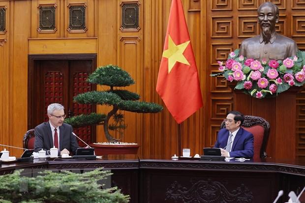 Thu tuong Pham Minh Chinh tiep Dai su Cong hoa Phap tai Viet Nam hinh anh 1
