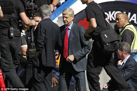 Arsene Wenger khong them nhin mat Jose Mourinho khi bat tay hinh anh 1