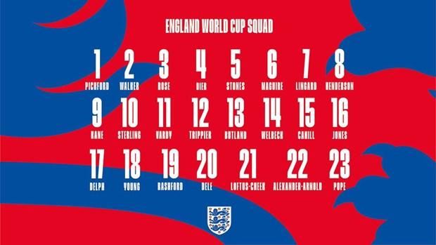 Doi tuyen Anh cong bo so ao cac cau thu tham du World Cup 2018 hinh anh 2