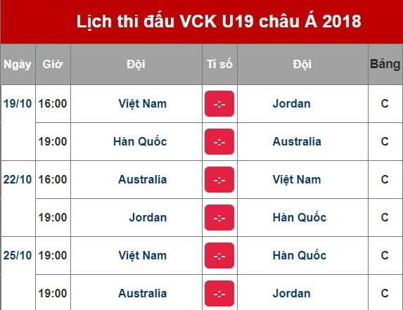 Lich thi dau cua U19 Viet Nam tai vong chung ket U19 chau A 2018 hinh anh 2