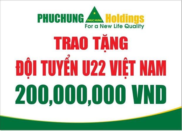 Tap doan Phuc Hung Holdings tang thuong U22 Viet Nam 200 trieu dong hinh anh 1