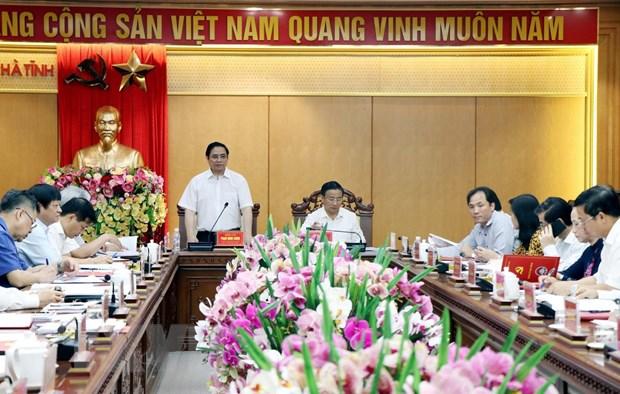 Doan Tieu ban Van kien Dai hoi XIII khao sat va lam viec tai Ha Tinh hinh anh 2