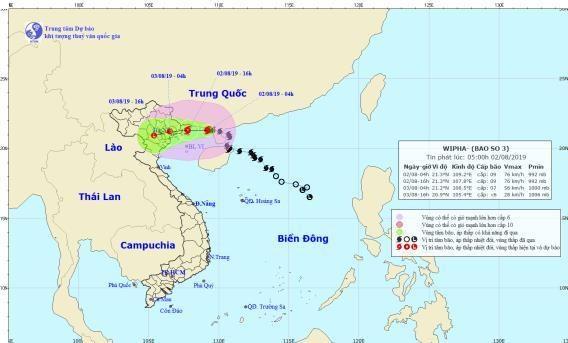 Chieu 2/8, bao so 3 giat cap 12 di vao vung bien Quang Ninh-Hai Phong hinh anh 1