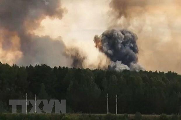 Khói bốc lên từ hiện trường vụ nổ động cơ tên lửa thử nghiệm tại thao trường quân sự thành phố Severodvinsk, tỉnh Arkhangelsk, Nga ngày 8-8. Ảnh: Crime Russia/TTXVN