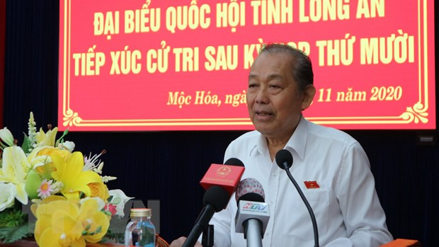 Pho Thu tuong Truong Hoa Binh tiep xuc cu tri tai tinh Long An hinh anh 1