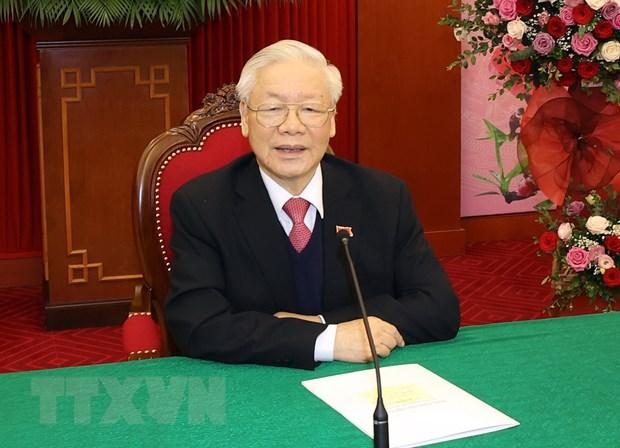 Tong Bi thu dien dam voi Chu tich Dang Nhan dan Campuchia hinh anh 1