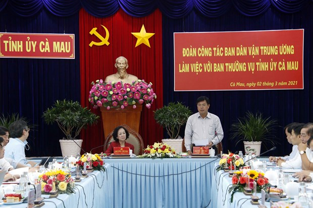 Doan cong tac Ban Dan van Trung uong lam viec voi Tinh uy Ca Mau hinh anh 2