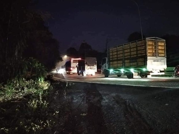 Lam Dong: Xe container roi xuong vuc sau tren deo Bao Loc hinh anh 1