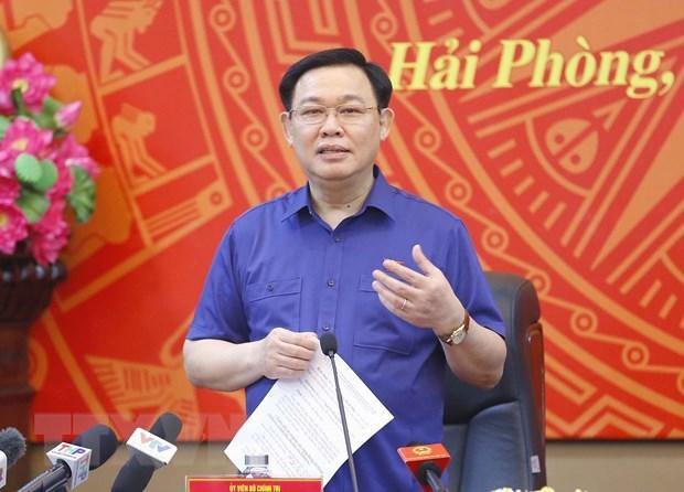 Chu tich Quoc hoi Vuong Dinh Hue lam viec voi Thanh uy Hai Phong hinh anh 1