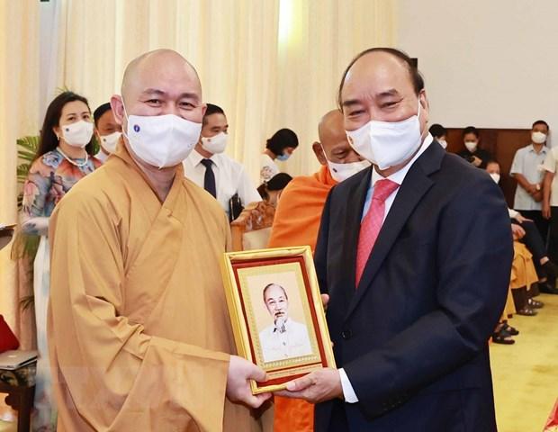 Chu tich nuoc tiep Doan Lanh dao Giao hoi Phat giao Viet Nam hinh anh 1