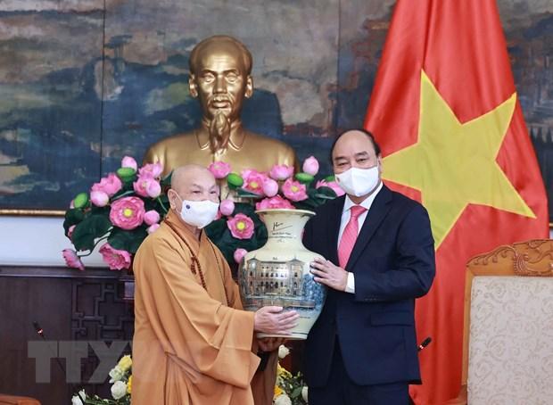 Chu tich nuoc tiep Doan Lanh dao Giao hoi Phat giao Viet Nam hinh anh 2