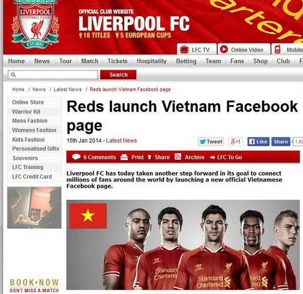 Liverpool mang tin vui toi Viet Nam, Moyes