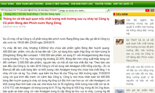 Sau khi bien mat, ket qua quan trac Rang Dong tro lai web Bo TN-MT hinh anh 2