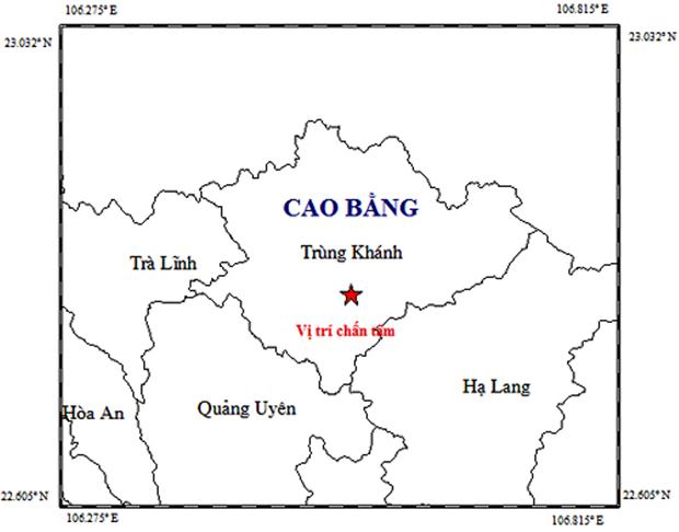 Cao Bang: Xay ra tran dong dat cuong do 2,8 tai huyen Trung Khanh hinh anh 1