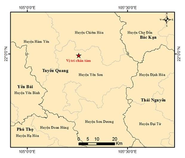 Tuyen Quang: Xay ra dong dat do lon 3,3 tai huyen Yen Son hinh anh 1