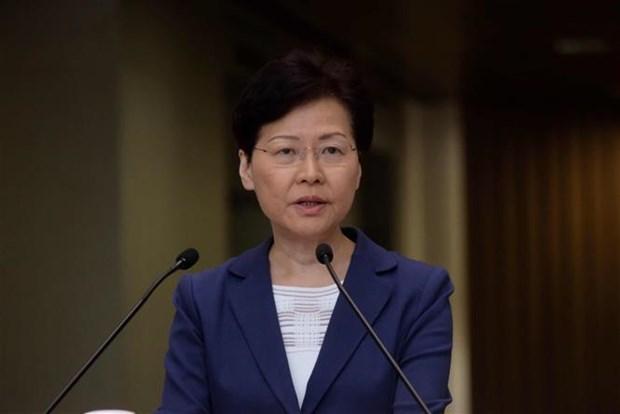 Trưởng Đặc khu hành chính Hong Kong (Trung Quốc), bà Lâm Trịnh Nguyệt Nga phát biểu tại Hong Kong ngày 13-8-2019. Ảnh: THX/TTXVN