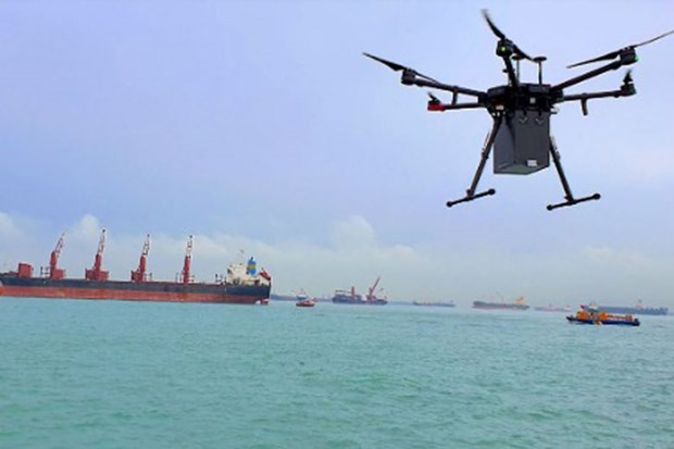 Singapore trien khai dich vu giao nhan hang hoa ngoai khoi bang drone hinh anh 1