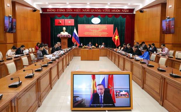 Hoi nghi truc tuyen TP Ho Chi Minh va thanh pho Saint Petersburg hinh anh 1