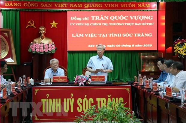 Thuong truc Ban Bi thu Tran Quoc Vuong lam viec tai Soc Trang hinh anh 1